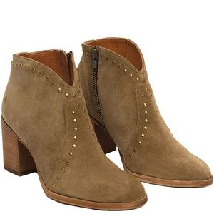 Frye Brown Suede Nora Stud Zip Heeled Bootie